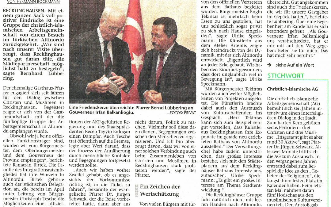 Christlich-Islamische Arbeitsgemeinschaft besucht die türkische Stadt Altinordu
